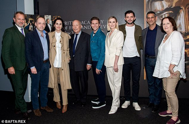 Crew: The cast were also joined by (L-R) producer Gareth Name, Downton Abbey writer and creator Julian Fellows, director Michael Engler, and producer Liz Trubridge