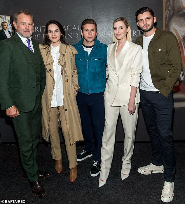 Cast: Joining the ladies at the screening was (L-R) Hugh Bonneville, who plays Robert Crawley, Allan Leech, who plays Tom Branson, and Michael C Fox, who plays Andrew Parker