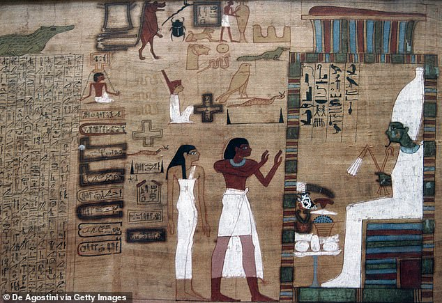 The ancient book is part of a larger work known as The Coffin Texts, which includes 1,185 spells, incantations, and religious writings on the afterlife. -- which is also part of 'The Book of the Dead' (pictured)