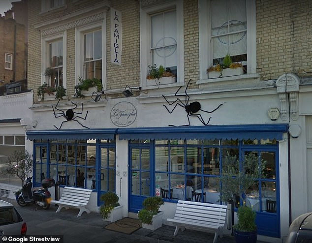 Celebrity hot spot:La Famiglia has hosted stars from around the world with the likes of Princess Margaret, Brigitte Bardot and Michael Caine dining at the Chelsea eatery over the years (pictured on Google Street View)
