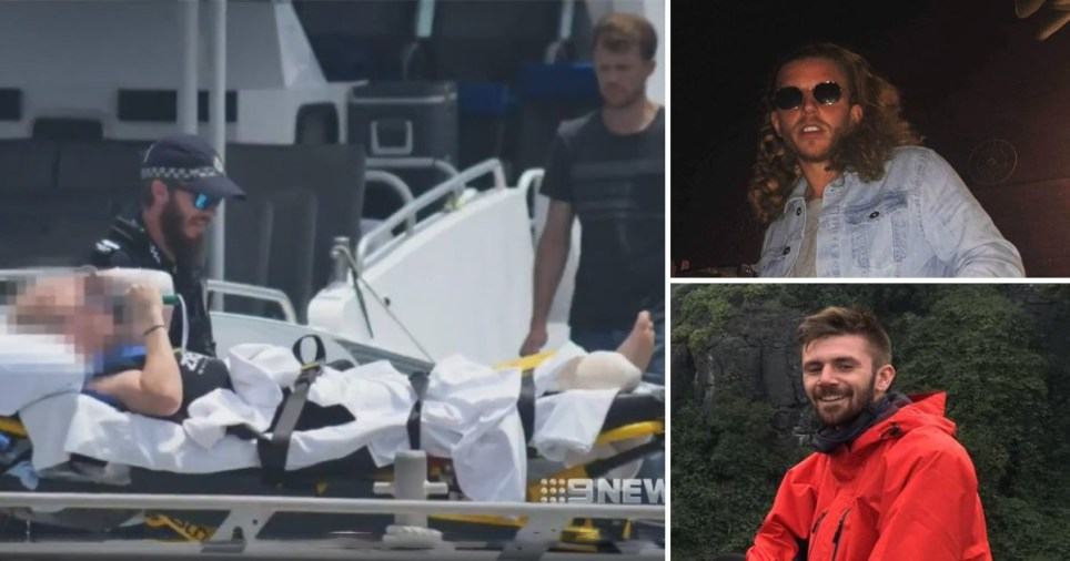One of the men's foot was bitten off while the other suffered serious cuts to his leg (Picture: 9News)