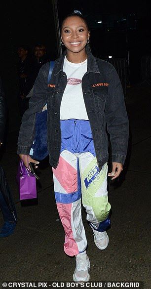 Outfit: Samira Mighty, 22, sported a white top with multi-coloured trousers and a black jacket for the evening
