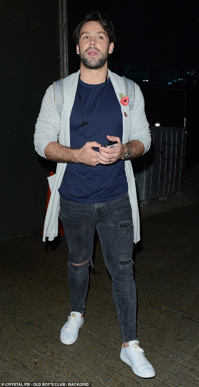 Dapper:Try Star member Ben Foden, 34, kept it casual in a blue shirt with black jeans and a grey cardigan after his performance