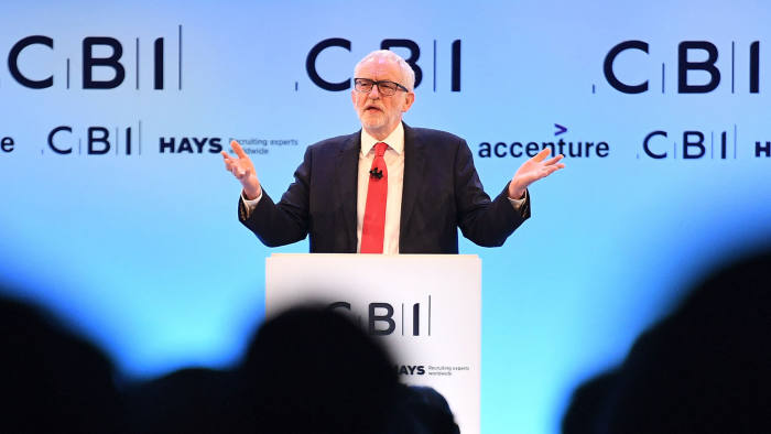 LONDON, ENGLAND - NOVEMBER 18: Labour leader Jeremy Corbyn speaks at the annual CBI conference on November 18, 2019 in London, England. With 24 days to go until the general election, each of the leaders of the three main parties addressed the conference, in a bid to garner the support of the business sector. (Photo by Leon Neal/Getty Images)