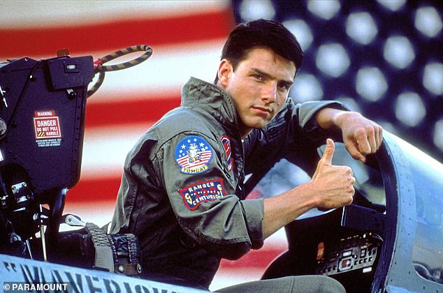 A big thumb's up on this one: Tom seen in the 1986 hit movie Top Gun