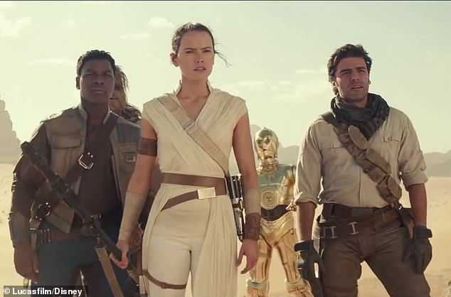 Who did it? The leads in the film are John Boyega, Daisy Ridley, Oscar Isaac (all pictured with C-3PO) as well as Adam Driver