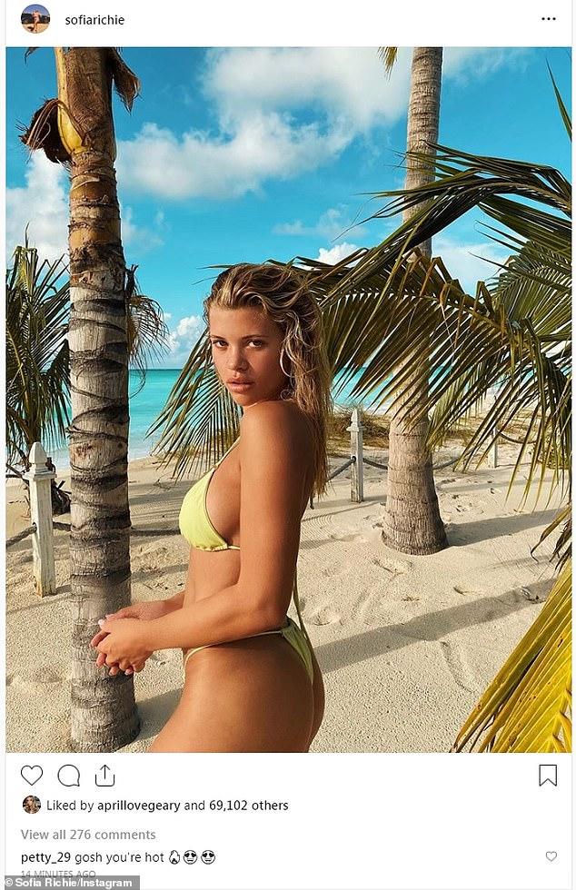 Heating up social media:Sofia shared a pretty pinup photo on Sunday where she had on a string bikini while on the beach