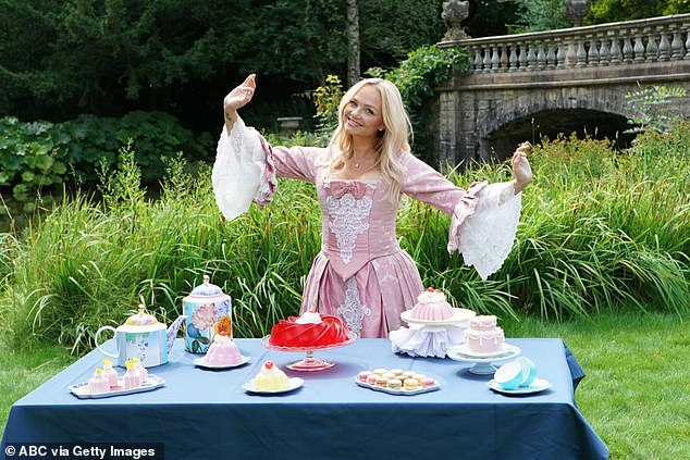 Funny: In a sketch for the series, Emma seems to be poking fun at the iconic quote 'Let them eat cake, believed to have been uttered by Marie Antoinette