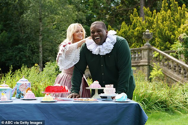Hilarious: Emma seems to be getting Anthony into the Early Modern spirit by dressed him in a white frilled collar for the hilarious scenes