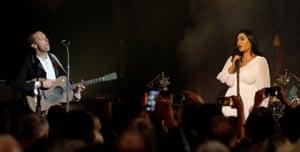 Persuasive … Chris Martin and Norah Shaqur.