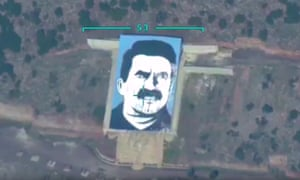 A still from a promotional video that shows the Bayraktar TB2 drone targeting a portrait of the PKK founder, Abdullah Öcalan.