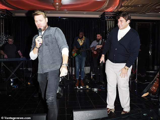 Bouncing back: The former TOWIE star, 31, was back to his old self as he joined forces with the Westlife singer for a sing-song at the Dakota Hotel in Leeds on Tuesday night