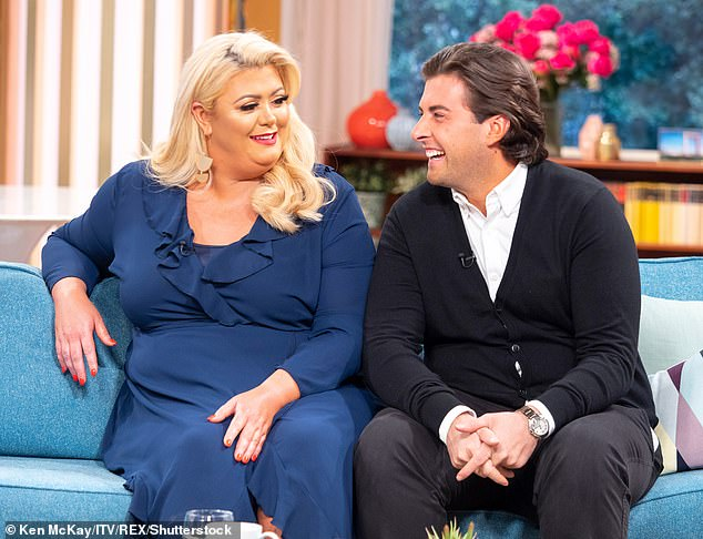 What she wants: The TOWIE star insisted she wants James to get down on bended knee with 'a big yellow rock' (pictured together in April 2018)