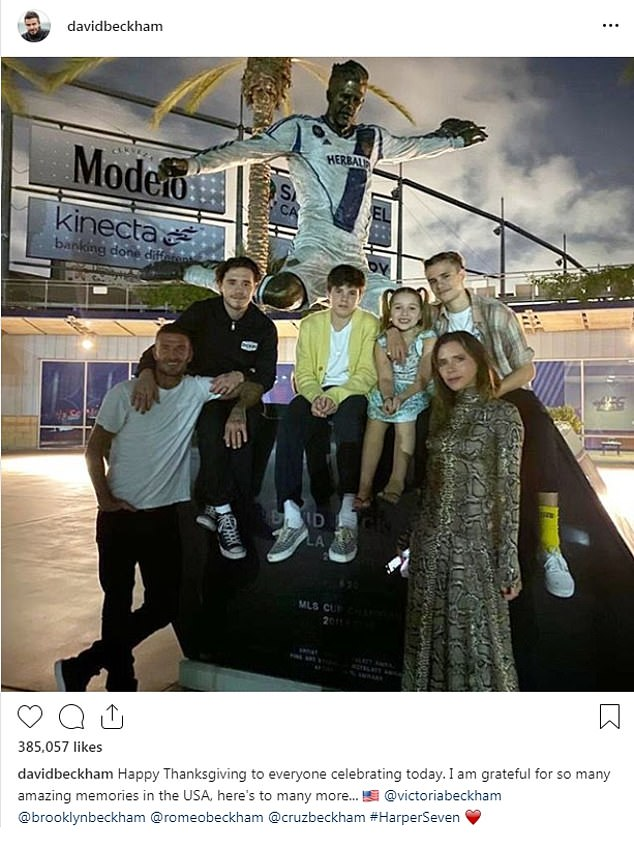 'I am grateful!' David Beckham shared a picture with his entire family