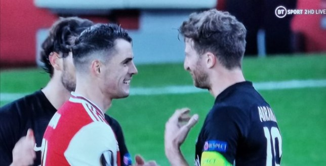 Arsenal fans have slammed Granit Xhaka for laughing with the Eintracht Frankfurt players