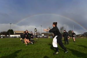 A rainbow appears as the team train during Barbarians training.