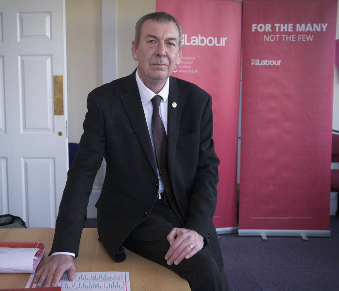 For Tobias Buck profile on the Hartlepool parliamentary constituency. Mike Hill, the Labour incumbent and PPC for the town. Hartlepool, 19/11 2019 Photo © Mark Pinder +44 (0)7768 211174 pinder.photo@gmail.com www.markpinder.net