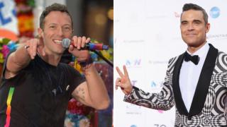 Chris Martin of Coldplay and Robbie Williams