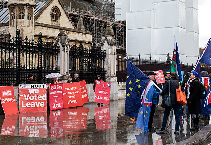Pro-Leave and pro-Remain protesters outside the House of Commons in March. Brexit continues to split the UK, yet many voters are reluctant to see either Boris Johnson or Labour's Jeremy Corbyn installed as the next prime minister