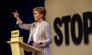 Nicola Sturgeon at the SNP manifesto launch yesterday.