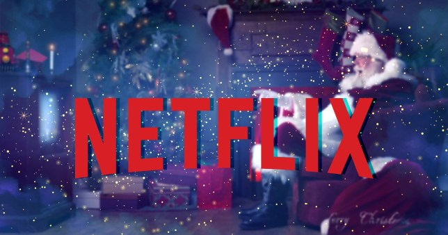 Netflix logo on a Christmassy background