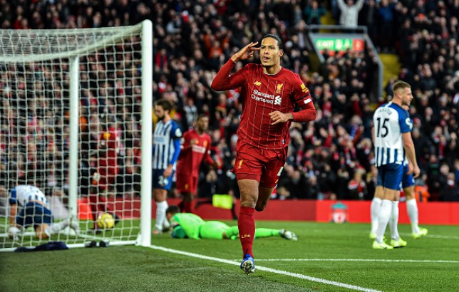 Virgil van Dijk scored both Liverpool's goals as the league leaders beat Brighton 2-1 at Anfield