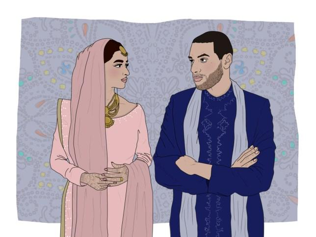 metro illustrations - muslim couple, muslim men explain financial strain