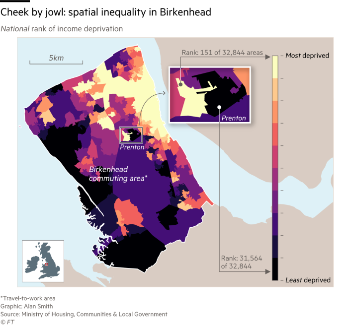 A map of spatial inequality in Birkenhead. The West is generally more affluent, the East less so. There is one area in Prenton where one of the most deprived areas in the country abutts one of the most affluent