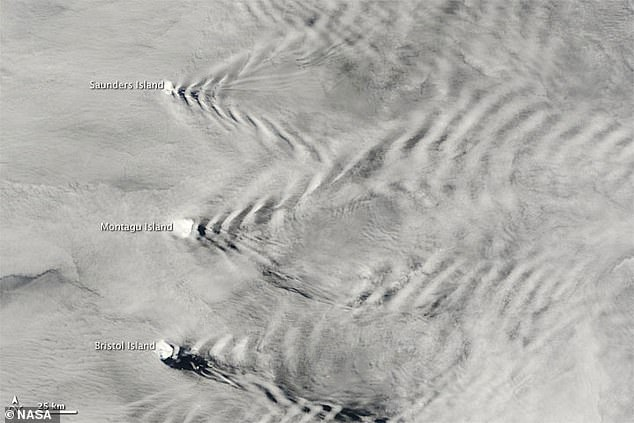 In 2009 NASA's Terra satellite captured the same effect over the South Sandwich Islands of Saunders, Montagu and Bristol seen in this image