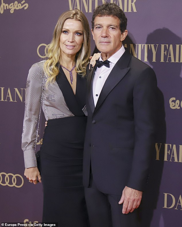 True love: Antonio is currently dating Nicole Kimpel. The handsome movie star detailed how his girlfriend saved his life, in an interview with Jimmy Kimmel. They are seen in Spain earlier this week
