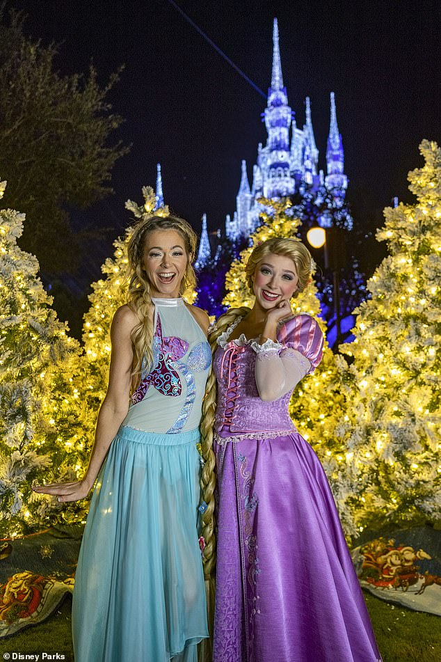 Beloved characters: Stirling posed with Rapunzel at Magic Kingdom Park in Lake Buena Vista, Florida