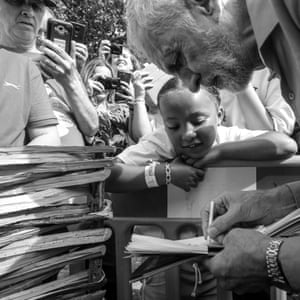 Jeremy Corbyn signs autographs at the festival