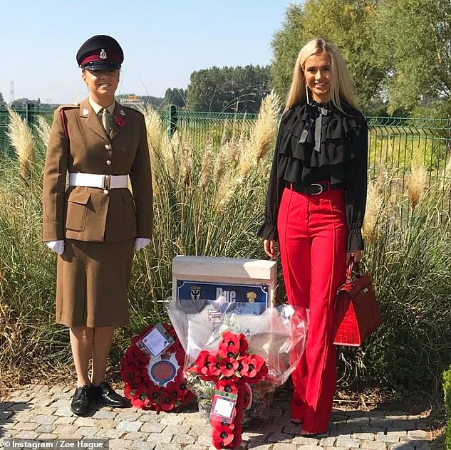 Proud: Molly-Mae previously shared a touching tribute to Zoe - who is serving in the British Army - on Remembrance Day (pictured together last year)