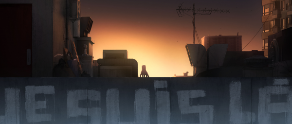 The Hand watches the sunrise from a rooftop in an image from I Lost My Body