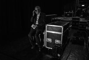 Corbyn makes last minute preparations to go on stage at the Manchester Apollo