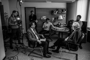 Above: Corbyn, with Milne and Schneider in the background, conducts an interview with ITN