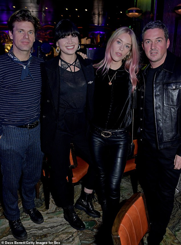 Good times: New couple Jack Penate (left) and Daisy Lowe (second from left) were also in attendance alongside Mary, (second from right) and David Gardiner (right)