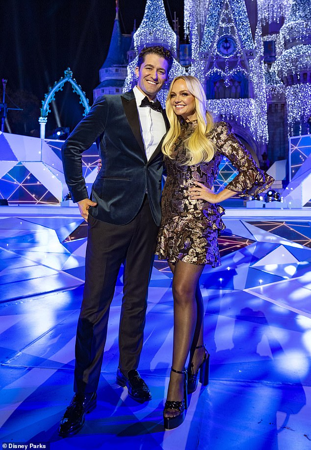 Co-hosts: Bunton, 43, wore a pretty black and gold patterned mini dress with long sleeves and flounce hem. Morrison, 41, was dressed in a dark blue plush tuxedo jacket and black trousers