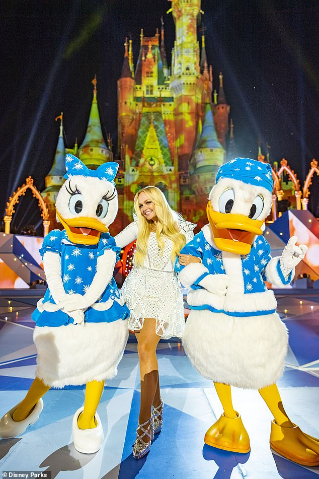 It's quackers: Bunton got to hang out with Daisy Duck and Donald Duck