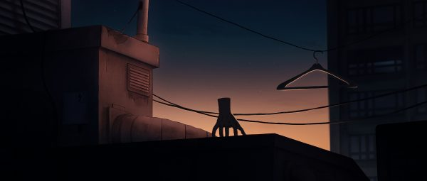Hand stands on a rooftop watching the sunset in I Lost My Body