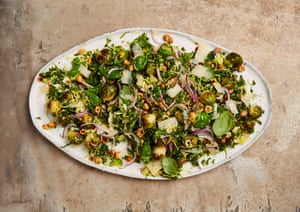 Yotam Ottolenghi's brussels sprout and parmesan salad with a lemony dressing.