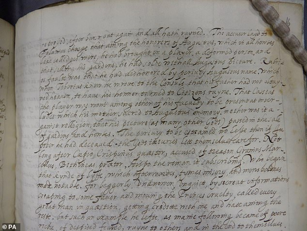 Lambeth Palace Library of a page from Tacitus's Annales showcasing Queen Elizabeth I's writing