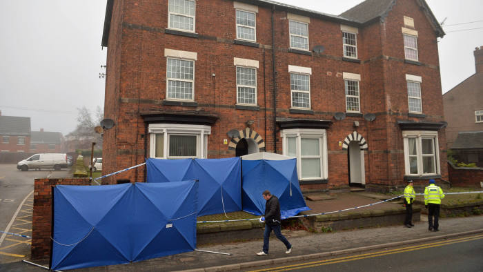 Police setting up barriers to maintain the integrity of the site at a three-storey block of flats in Woverhampton Road, Stafford, where a property is being searched by police following yesterday's stabbing attacks in London. PA Photo. Picture date: Saturday November 30, 2019. See PA story POLICE LondonBridge. Photo credit should read: Jacob King/PA Wire