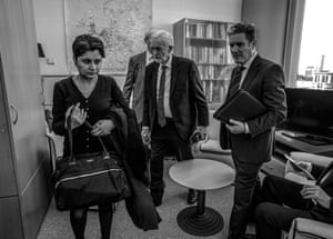 Jeremy Corbyn about to be interviewed by ITN's Angus Walker in offices of MEP Richard Corbett in the European Parliament, with Keir Starmer and Shami Chakrabarti