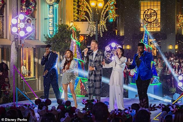 Pure vocals: Pentatonix sang a cappella renditions of Deck the Halls and Here Comes Santa Claus