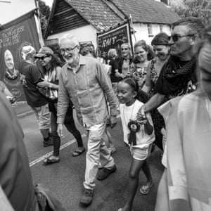 Jeremy Corbyn on the march through the village