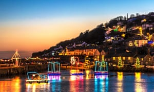 The christmas lights at Mousehole in Cornwall.