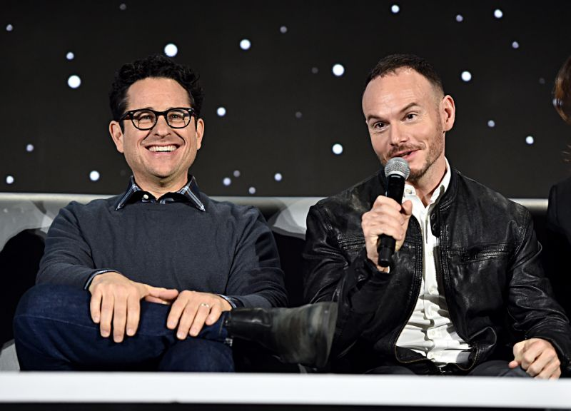 """PASADENA, CALIFORNIA - DECEMBER 04: Writer/director J.J. Abrams and Co-writer Chris Terrio participate in the global press conference for """"Star Wars: The Rise of Skywalker"""" at the Pasadena Convention Center on December 04, 2019 in Pasadena, California. (Photo by Alberto E. Rodriguez/Getty Images for Disney)"""