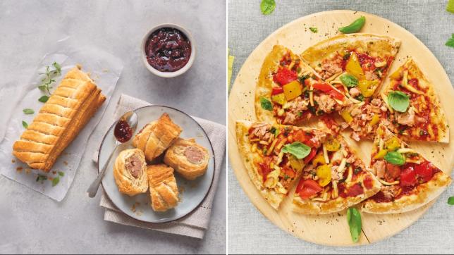 Aldi's vegan sausage roll and vegan pizza