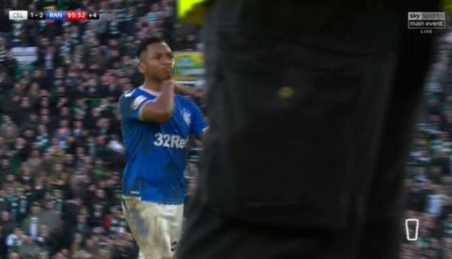 Alfredo Morelos makes throat-slitting gesture after Old Firm red card